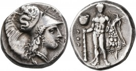 LUCANIA. Herakleia. Circa 330/25-281 BC. Didrachm or Nomos (Silver, 20 mm, 7.87 g, 10 h). ՒHPA[KΛHIΩN] Head of Athena to right, wearing Corinthian hel...
