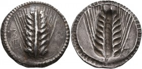 LUCANIA. Metapontion. Circa 540-510 BC. Nomos (Silver, 28 mm, 8.23 g, 12 h). MET Ear of barley with eight grains; around, border of dots. Rev. Ear of ...