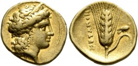 LUCANIA. Metapontion. Time of Alexander the Molossian, circa 334-331/0 BC. Tetrobol or Third Stater (Gold, 14 mm, 2.55 g, 10 h), Achaian standard. Hea...