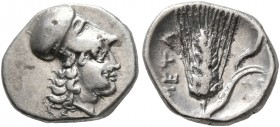 LUCANIA. Metapontion. Circa 325-275 BC. Diobol (Silver, 12 mm, 1.20 g, 6 h). Head of Athena to right, wearing Corinthian helmet. Rev. META Barley ear ...