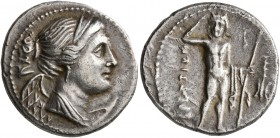 BRUTTIUM. The Brettii. Circa 216-214 BC. Drachm (Silver, 19 mm, 4.37 g, 5 h). Diademed and draped bust of Nike to right; behind, plow. Rev. BPETTIΩN R...