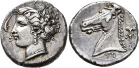 SICILY. Entella (?). Punic issues, circa 320/15-300 BC. Tetradrachm (Silver, 27 mm, 17.35 g, 8 h). Head of Tanit-Persephone to left, wearing wreath of...