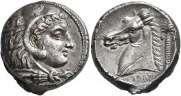 SICILY. Entella (?). Punic issues, circa 300-289 BC. Tetradrachm (Silver, 24 mm, 16.91 g, 12 h). Head of Herakles to right, wearing lion skin headdres...