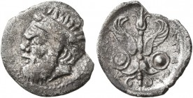 SICILY. Katane. Circa 415/3-404 BC. Litra (Silver, 14 mm, 0.75 g, 10 h). Bearded head of Silenos to left, hair in wide band decorated with ivy wreath....