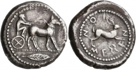 SICILY. Messana. 475-471 BC. Tetradrachm (Silver, 26 mm, 17.15 g, 12 h). Charioteer, holding kentron in his right hand and reins in his left, driving ...