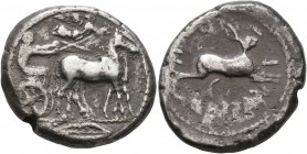 SICILY. Messana. 455-451 BC. Tetradrachm (Silver, 27 mm, 17.11 g, 1 h). Charioteer, holding kentron in his right hand and reins in his left, driving b...