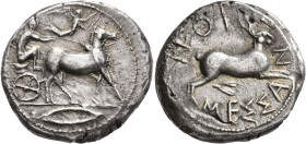 SICILY. Messana. 445-439 BC. Tetradrachm (Silver, 26 mm, 17.13 g, 2 h). Charioteer, holding kentron in his right hand and reins in his left, driving b...