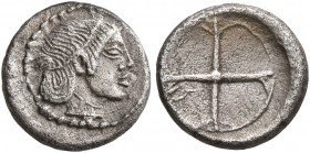 SICILY. Syracuse. Deinomenid Tyranny, 485-466 BC. Litra (Silver, 9 mm, 0.64 g), circa 475-470. Diademed head of Arethusa to right, wearing single-pend...