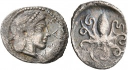 SICILY. Syracuse. Second Democracy, 466-405 BC. Litra (Silver, 13 mm, 0.65 g, 10 h), circa 466-460. ΣYPA Head of Arethusa to right, her hair tied up i...
