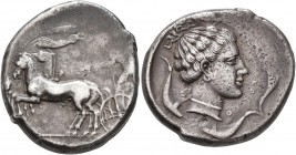 SICILY. Syracuse. Second Democracy, 466-405 BC. Tetradrachm (Silver, 27 mm, 17.18 g, 10 h), circa 440-430. Charioteer driving quadriga walking to left...