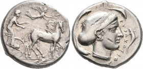 SICILY. Syracuse. Second Democracy, 466-405 BC. Tetradrachm (Silver, 25 mm, 17.35 g, 4 h), circa 430-420. Charioteer driving quadriga walking to right...