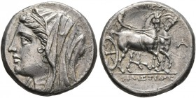 SICILY. Syracuse. Philistis, wife of Hieron II, 275-215 BC. 5 Litrai (Silver, 17 mm, 4.22 g, 2 h). Diademed and veiled bust of Philistis to left. Rev....