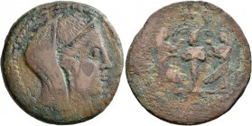 ISLANDS OFF SICILY, Melita. 218-175 BC. AE (Bronze, 30 mm, 14.62 g, 10 h). Veiled and diademed female head to right. Rev. [𐤏𐤍𐤍] (...
