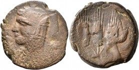 CARTHAGE. Libyan Revolt. Circa 241-238 BC. 1½ Shekel (Bronze, 27 mm, 14.99 g, 4 h). Head of Isis to left. Rev. Three grain ears. MAA 56. SNG Cope...