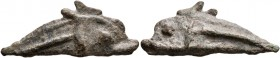 SKYTHIA. Olbia. Circa 437-410 BC. AE (Bronze, 12x29 mm, 2.22 g). cast dolphin without inscription. SNG Stancomb 334-337. Very fine.