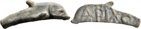 SKYTHIA. Olbia. Circa 437-410 BC. Cast unit (Bronze, 11x41 mm, 4.49 g). Dolphin right. Rev. APIXO on blank surface. SNG Stancomb 341. Very fine.