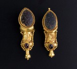 Parthian gold and garnet earrings