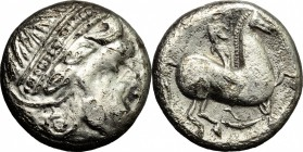 Celtic World. Celtic, Eastern Europe. AR Tetradrachm, 2nd century BC. D/ Head right, bearded, diademed. R/ Horseman right. cf. Dembski 1142. AR. g. 13...