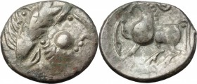 Celtic World. Celtic, Eastern Europe. AR Tetradrachm, Type 'Kugelwange', 2nd-1st century BC. D/ Head of Zeus right, laureate. R/ Horse left. Castelin ...