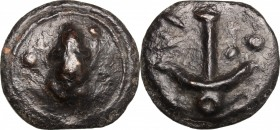 Greek Italy. Umbria, Tuder. AE cast Quadrans, c. 235 BC. D/ Frog surrounded by three pellets. R/ Anchor surrounded by three pellets. HN Italy 48. Thur...