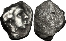 Greek Italy. Etruria, Populonia. AR As, 3rd century BC. D/ Male head right; behind, [I]. R/ Blank. Vecchi EC I, 109 (unrecorded die); HN Italy 182; HG...