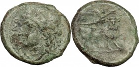 Greek Italy. Samnium, Southern Latium and Northern Campania, Suessa Aurunca. AE 20mm, 265-240 BC. D/ Head of Apollo left, laureate. R/ Man-headed bull...