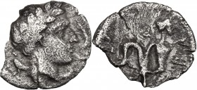 Greek Italy. Central and Southern Campania, Allifae. AR Obol, 325-275 BC. D/ Head of Apollo right, laureate; surrounded by three dolpins. R/ Scylla ri...