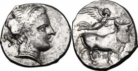 Greek Italy. Central and Southern Campania, Neapolis. AR Didrachm, 320-300 BC. D/ Head of nymph right, hair bound with wide band, wearing necklace and...