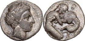 Greek Italy. Central and Southern Campania, Neapolis. AR Obol, 320-300 BC. D/ Male head right, laureate. R/ Herakles strangling Nemean lion right. HN ...