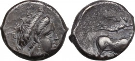 Greek Italy. Central and Southern Campania, Neapolis. AR Didrachm, c. 300 BC. D/ Head of nymph right. R/ Man-headed bull walking right; above, Nike fl...
