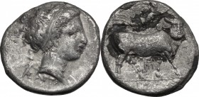 Greek Italy. Central and Southern Campania, Neapolis. AR Didrachm, c. 300 BC. D/ Head of nymph right; behind neck, Artemis, holding two torches, runni...