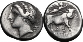 Greek Italy. Central and Southern Campania, Neapolis. AR Didrachm, c. 275-250 BC. D/ Head of nymph left; uncertain symbol behind. R/ Man-headed bull w...