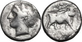 Greek Italy. Central and Southern Campania, Neapolis. AR Didrachm, c. 300 BC. D/ Head of nymph left; behind neck, symbol (wing?). R/ Man-headed bull w...