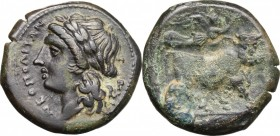 Greek Italy. Central and Southern Campania, Neapolis. AE 20 mm, 300-275 BC. D/ Head of Apollo left, laureate. R/ Man-headed bull walking right; above,...