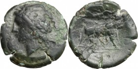 Greek Italy. Central and Southern Campania, Neapolis. AE 23 mm, c. 275-250 BC. D/ Laureate head of Apollo left; ethnic before. R/ Man-headed bull walk...