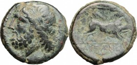 Greek Italy. Northern Apulia, Arpi. AE 22 mm, 325-275 BC. D/ Head of Zeus left, laureate. R/ Boar right; above, spear head. HN Italy 642. AE. g. 8.69 ...