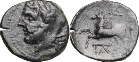 Greek Italy. Northern Apulia, Arpi. AE 18 mm, c. 325-275 BC. D/ Head of Zeus left, laureate. R/ Horse rearing left; star above, monogram below. HN Ita...
