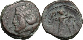 Greek Italy. Northern Apulia, Ausculum. AE 17 mm, c. 240 BC. D/ Head of Herakles left, wearing lion skin. R/ AYCKΛA. Nike standing right, attaching ta...