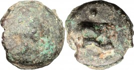 Greek Italy. Northern Apulia, Luceria. AE cast Biunx, 217-212 BC. D/ Shell. R/ Astragalos. HN Italy 677d. AE. g. 29.76 mm. 28.00 About VF/VF.