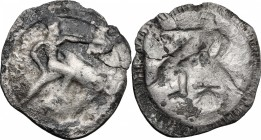 Greek Italy. Southern Apulia, Tarentum. AR Nomos, 510-500 BC. D/ Phalantos riding on dolphin right; below, shell. R/ Same type incuse, left. HN Italy ...
