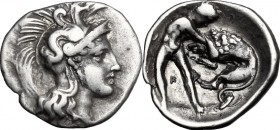 Greek Italy. Southern Apulia, Tarentum. AR Diobol, c. 380-325 BC. D/ Head of Athena right, wearing helmet decorated with hippocamp. R/ Herakles standi...
