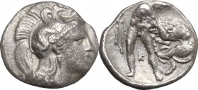 Greek Italy. Southern Apulia, Tarentum. AR Diobol, 380-325 BC. D/ Head of Athena right, helmeted. R/ Herakles standing right, strangling Nemean Lion; ...
