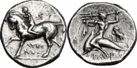 Greek Italy. Southern Apulia, Tarentum. AR Nomos, c. 275-235 BC. Sy... and Lykinos, magistrates. D/ Nude youth on horseback left, crowning horse; abov...
