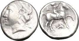 Greek Italy. Southern Apulia, 'Campano-Tarentine'. AR Stater, 280-230 BC. D/ Head of nymph left, diademed. R/ Nude youth on horseback right, crowning ...