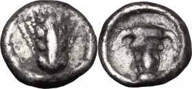 Greek Italy. Southern Lucania, Metapontum. AR Obol, 440-430 BC. D/ Ear of barely. R/ Head of ox facing. HN Italy 1500. AR. g. 0.42 mm. 8.00 Toned. VF.