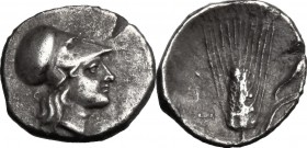 Greek Italy. Southern Lucania, Metapontum. AR Diobol, c. 325-275 BC. D/ Helmeted head of Athena right. R/ Barley ear with leaf to right; cornucopia ab...