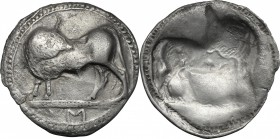 Greek Italy. Southern Lucania, Sybaris. AR Incuse Stater, 550-510 BC. D/ Bull standing left, head turned back; in exergue, VM. R/ Same type right, inc...
