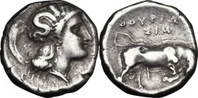 Greek Italy. Southern Lucania, Thurium. AR Stater, 350-300 BC. D/ Head of Athena right, wearing helmet decorated with Scylla. R/ Bull butting right; a...