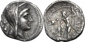 Greek Italy. Bruttium, The Brettii. AR Drachm, 216-214 BC. D/ Head of Hera Lakinia right, diademed, veiled; behind, helmet. R/ Zeus standing left, rig...