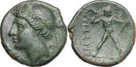 Greek Italy. Bruttium, The Brettii. AE Half, 214-211 BC. D/ Head of Nike left; behind, corn-ear. R/ Zeus striding right, hurling thunderbolt. HN Italy...